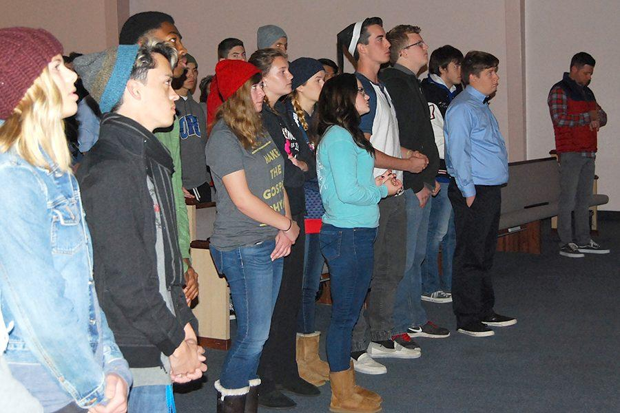 On Tuesday, November 29, students moved to the front of chapel to worship and to be closer to chapel leadership.