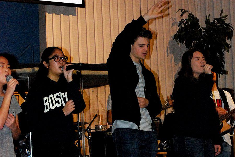 Grace Richard, Louise Melendres, Jason Carmen, and Destiny Barker worship God as members of the VCHS worship team on January 24.