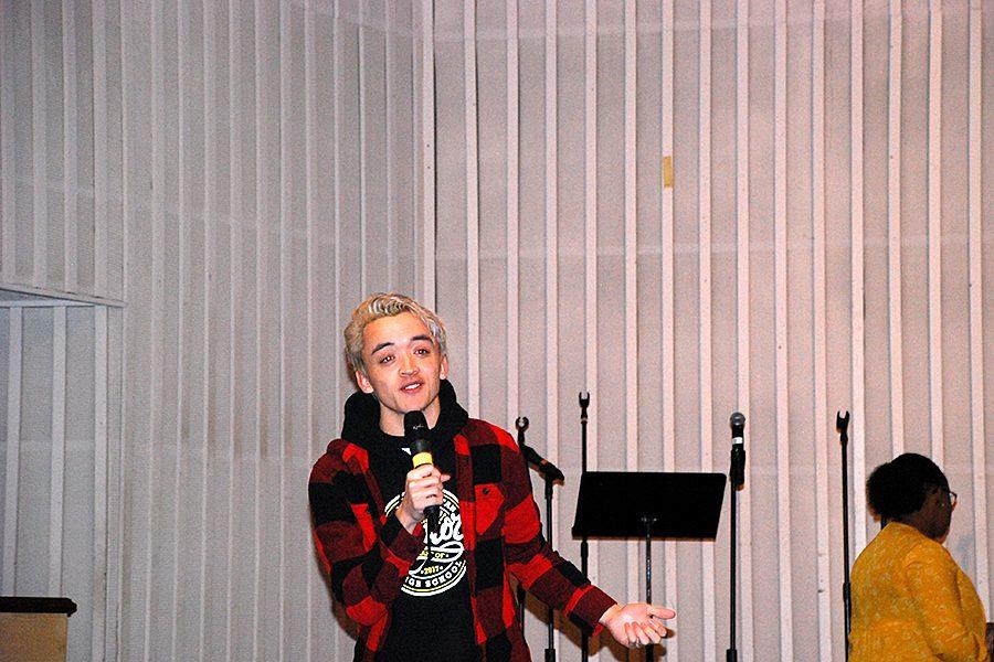 Senior Noah Salas gives his message in front of the student body at First Baptist Church on January 31.