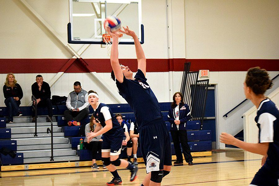 On March 6, junior setter Tyler Kenyon set the ball to senior Spencer Ekin again River Valley High School.  The Falcons ended up winning 3-0.