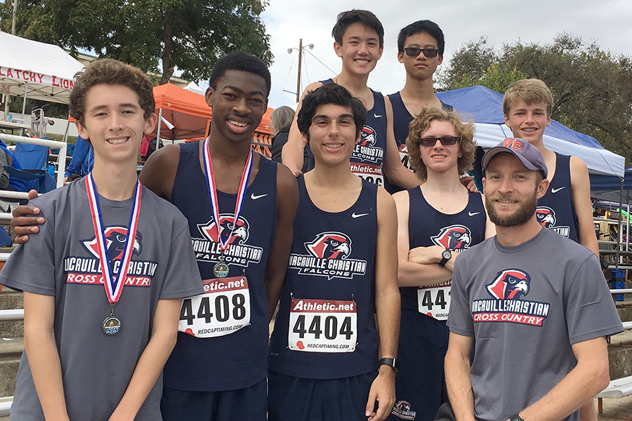 The VCHS Boys Cross Country take a picture after completing the Sac-Joaquin Sections meet.