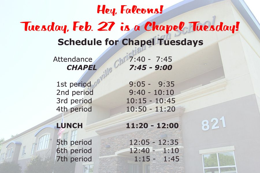 Chapel on Tuesday, February 27