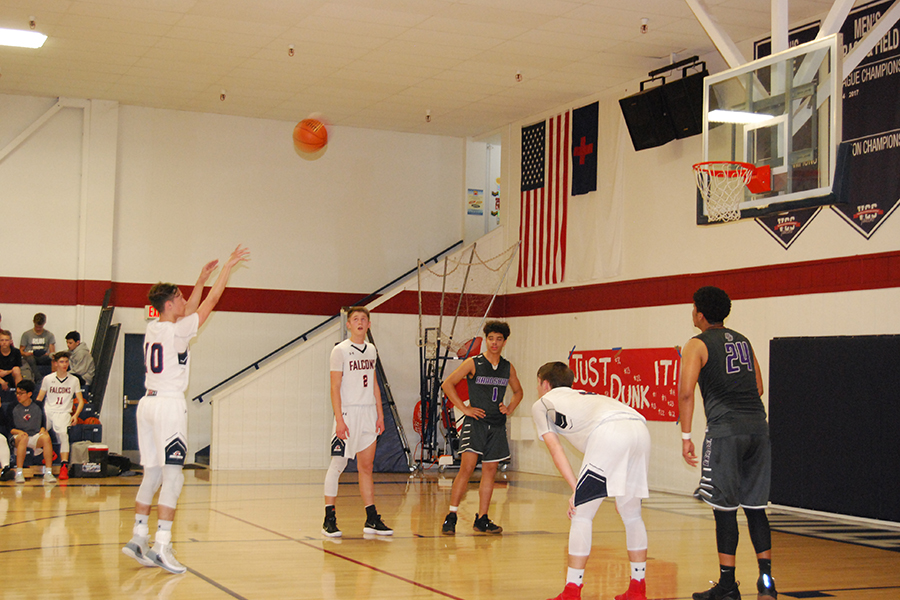 Junior Austin Everhart shoots a free throw against Bradshaw Christian on  February 5.  The Falcons lost in a tight game 50-57.