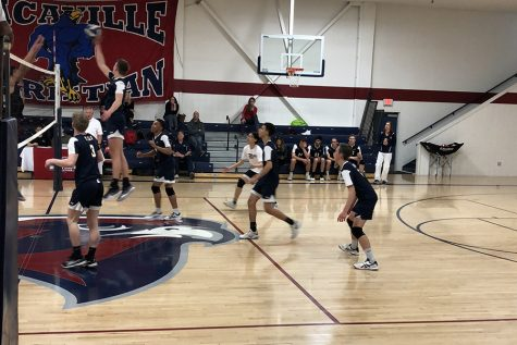 On April 12, the Varsity Men's Volleyball team played visiting Encina Prep High School. The game ended in a 3-0 win.