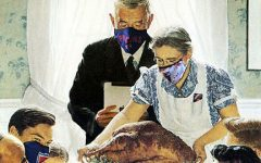 This graphic illustration, based on the painting by Norman Rockwell, was created by Emma Reheis.