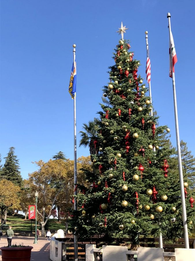 Christmas tree in the center of downtown Vacaville