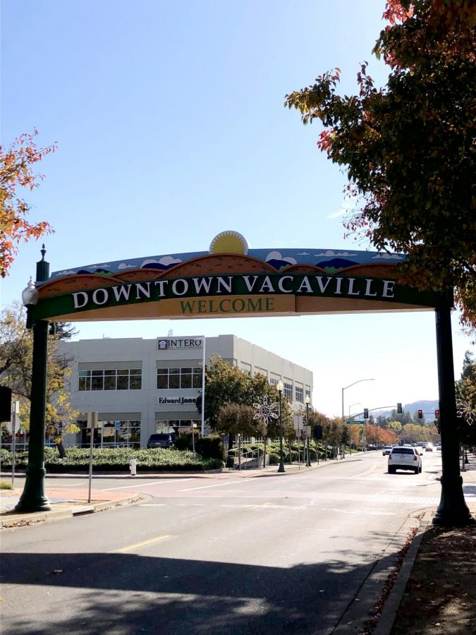 Welcome sign in front of downtown Vacaville
