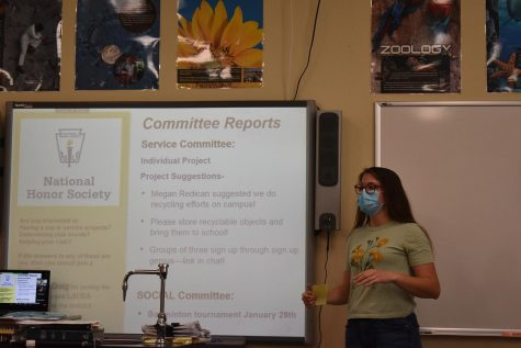 National Honor Society secretary, junior Laura Everett, talks to NHS members about upcoming service projects during their meeting on January 8, 2021, in room 108.