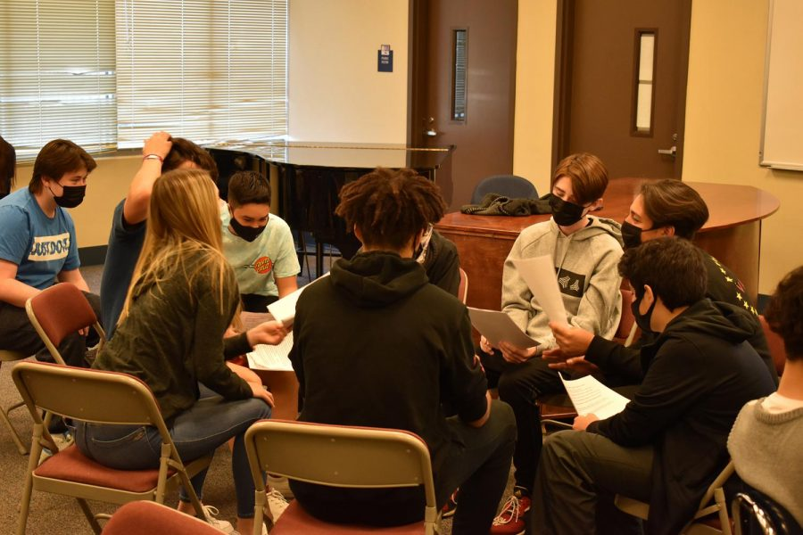 Freshman students, Miles Payan, Nathan Mclendon, Tyler Aas, Teagan Gonzales, Bryce Linton, Larry Lewis,and Mackenzie West all participate in their group discussion during chapel on March 2, 2021 in room 104.