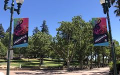 Banners hang in downtown Vacaville promoting the creekwalk concerts every Friday night.