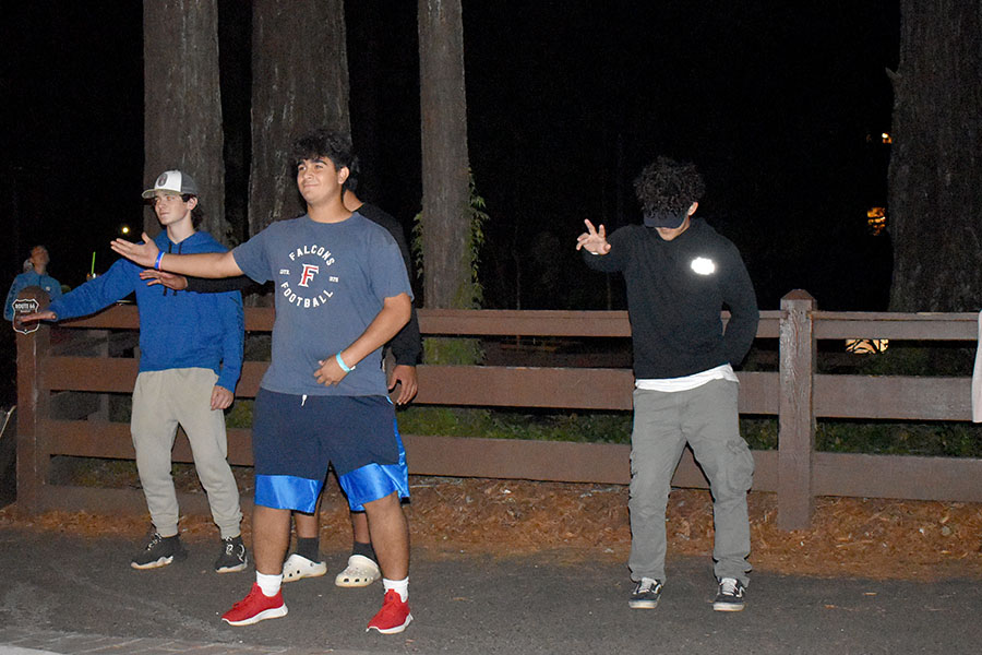 Sophomores Grayson Frische, Rafa Rios, and Levi West Dance for their general after a punishment in their skit
