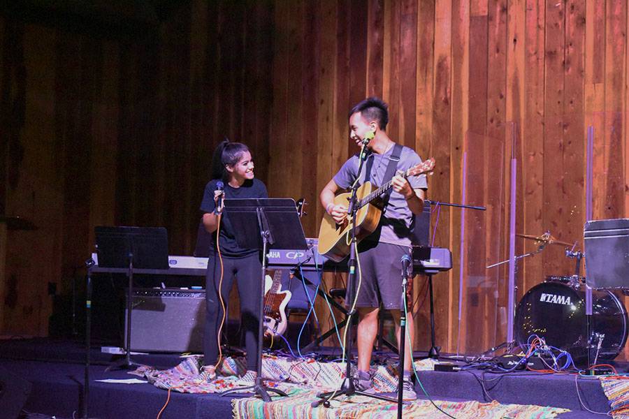 Melanie Serrano and Josiah Kim perform together at the talent show